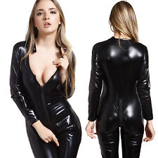 Sexy Overall Lack Anzug WetLook Catsuit Bodys Dessous Nachtkleid Party Clubwear