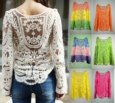 Women Semi Sheer Embroidery Floral Hollow Lace Crochet T-Shirt Tops Blouse New