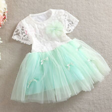Kids Baby Girls Princess Skirts Toddler Pageant Lace Dresses Floral Summer Dress