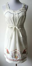 Anthropologie ARYEH Vintage Boho white sundress--Darling embroidery, fully lined