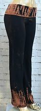 New HAPPY TIE DYE Black YOGA PANTS Alligator Waist and Ankles AMERICAN APPAREL