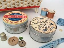 Small Vintage Sewing Tin Round Retro Metal Pot Shabby storage Box Crafts Pins