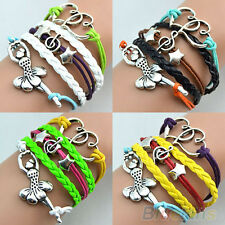 Stylish Multilayer Leather Ballerina Bracelet Musicial Dancing Girl Bangle B52U