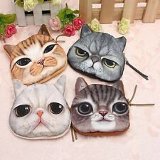 Eye-catching 3D Cute Lovely Children Coin Money Card Cat Zipper Purse Pouch Bag