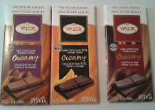 SUGAR FREE VALOR CHOCOLATE BARS LOW FAT DIET DIABETIC LOW CARB IDEAL GIFT