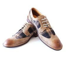 New Men's Brown Ferro Aldo Shoes Checkered Design Lace Up Denim Friendly MODERN