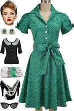 50s Style GREEN POLKA DOT Tie Sleeve Full Skirt Rockabilly PINUP Dress with SASH