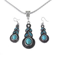 Twisted Drop Tibet Silver Turquoise Blue Bead Pendant Chain Necklace Earring Set
