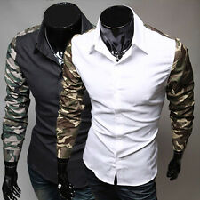 Korean Men's Stylish & Slim Fit Camouflage Long Splice Sleeve Casual Shirts Tops