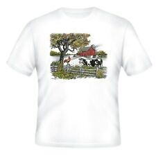 Decorative Country T-shirt Country Farm Cow Barn scene