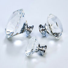 Crystal Faceted Clear Diamond Cupboard bedroom kitchen cabinet door knobs pulls