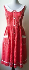 Anthropologie ARYEH vintage red & white dress-polka dots,pockets-1950s throwback
