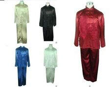 Traditional Men's kung fu Tai-chi Silk Satin Suit Jacket + pants Sz: M--XXXL