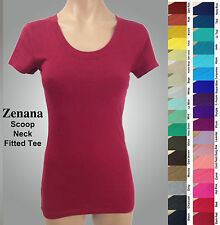 NWOT ZENANA 3007 Fitted Tee T-shirt SCOOP Neck Cotton Spandex Short Sleeves