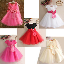 Hot Sale Korean Style Girls Kids Princess Baby Gown Party Flower Big Bow Dresses