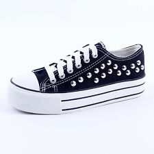 PUNK Goth Women Canvas Platform Flat Lace Up Casual Shoes Sneaker Student Shoes