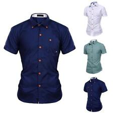 2015 New Fashion Men's Luxury Slim Fit Short Sleeve Casual Dress Shirts White
