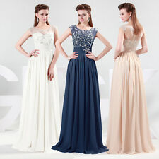 2014 Stock Chiffon Long Formal Ball Evening Party Bridesmaid Dress Size 6-20 JS