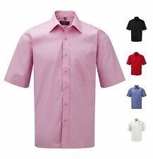 Russell Short Sleeve Easy Care 100% Cotton Poplin Mens Shirt Casual Formal Work