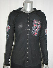 NEW SINFUL by AFFLICTION womens ELOISE L/S Button Down Graphic Slub HOODIE *XS-L