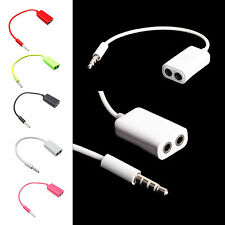 3.5mm Dual Double Jack Splitter Audio Share Music Cable Adapter for Earphone