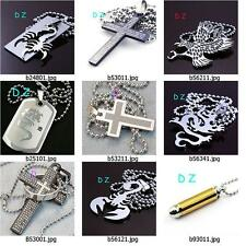 b20wq75 Fashion Men Stainless 316L Steel Chain Pendant Necklace Men's Jewelry
