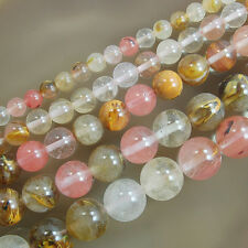 "Colorful Volcano Cherry Quartz Gemstone Round Beads 15"" 6mm 8mm 10mm pick size"
