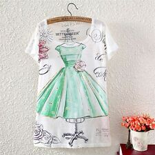 Vintage Womens Short Sleeve Design Drawing Graphic Paint T Shirt Blouse Tee Tops