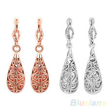 Lady's Exquisite Waterdrop Hollowed Silver Gold Dangle Hoop Party Earrings B5CU