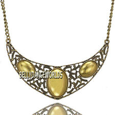 GOLDEN/SILVER CHAIN HOLLOW OVAL PENDANT BIB NECKLACE VINTAGE RETRO JEWELRY GIFT