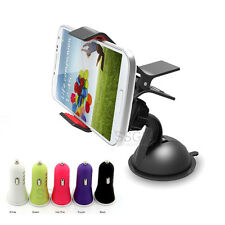 360 Rotating Clip Cradle Mount+ USB Adapter DC Car Charger For Mobile Cell Phone