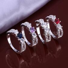 New Fashion Rhinestone Silver Plated Ring Swarovski Crystal Size 8 JMHG