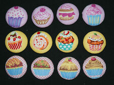 4 CUPCAKES FABRIC COVERED BUTTONS available 30mm size