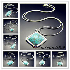18KGP Fill Turquoise Charms Silver plated snake chain With Clasp Necklace 16.5""
