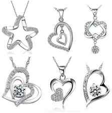 925 Sterling Silver Heart Love Pendant Cubic Zirconia Chain Crystal Necklace Box