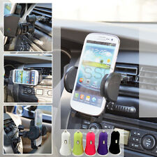 Rotated Car Air Vent Cradle Holder + Dual USB Charger for iPhone 4 4s 5 5s 5c 3G