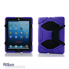 Screen Protector &Heavy Duty Shock Proof full Protect Purple case for iPad 2 3 4