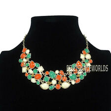 GOLDEN CHAIN FACETED RESIN BEADS IRREGULAR PENDANT BIB NECKLACE VINTAGE RETRO
