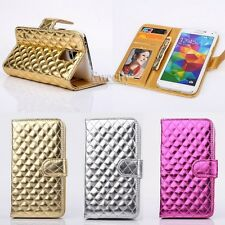 Bling Luxury Deluxe Grid Wallet Flip Stand PU Leather Case Phone Cover