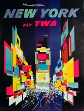 4169.New York.Fly TWA.City scenery.Times square.POSTER.Home School art decor