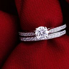 Real 18K White Gold Plated Wedding Band/Ring Set FREE SHIPPING!
