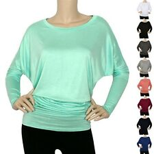 IRON PUPPY Women's BoatNeck DOLMAN L/Slv Top Blouse Knit MODAL Loose Fit Shirts