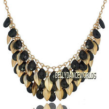 GOLDEN CHAIN RHINESTONES LEAFS CLUSTER FACETED RESIN BEADS PENDANT BIB NECKLACE