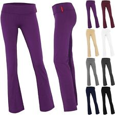 IRON PUPPY Fold Over Waist Fitness Gym Flared Leg Cotton Spandex Yoga Long Pants
