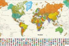 Colorful Contemporary World Flags Map Laminated Wall Map
