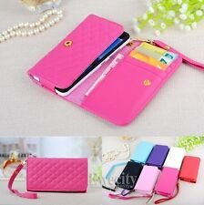 Fashion Luxury Grid Handy Lanyard Wallet Pouch PU Leather Case Cover Wrist Strap