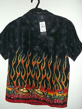 NWT youth boys / girls FLAMES, DICE & ROULETTE CASINO HAWAIIAN SHIRT  pic size