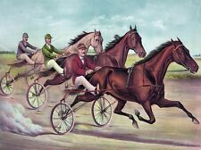 4445.Three men racing horses on three-wheeled bikes.POSTER.decor Home Office art