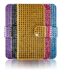 Bling Crystal Diamond PU Leather Wallet Flip Magnetic Case Cover Apple Samsung