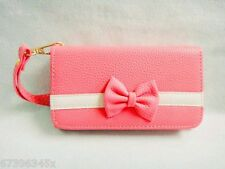 Bowknot Bow Girl Leather Wallet Purse Flip Case Cover FOR Mobile Smart Phones 12